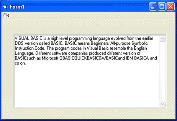 Creating files in isual Basic