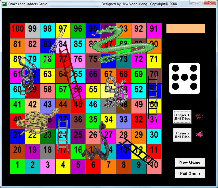 Snakes and Ladders Games created using visual basic 6