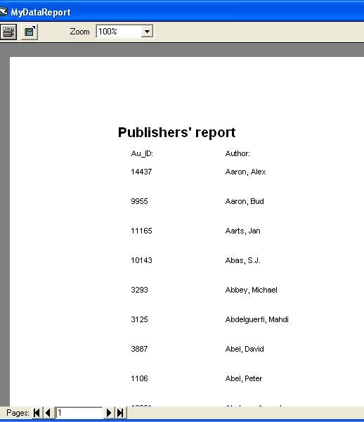 Creating Report in Visual Basic