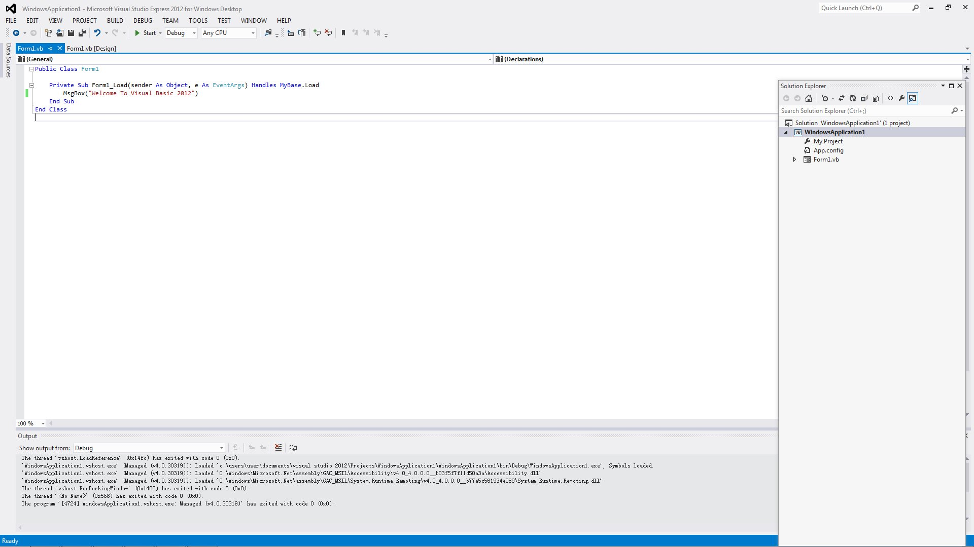 Introduction to Visual Basic 2012