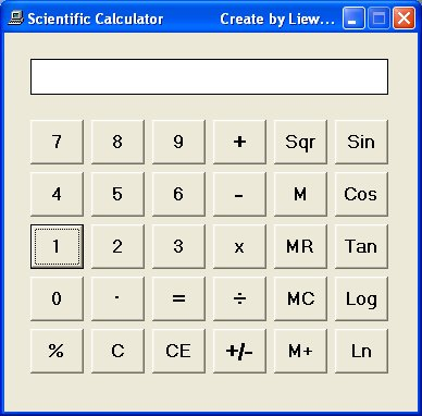Scientific Calculator created using Visual Basic 6