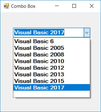 how to add items in a combobox vsual studio